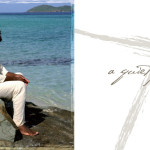 2 pictures frunt cover of CD white back ground with the words a Quiet Praise written in gray and the second picture is Neville sitting on a beach on the island of ST. thomas.