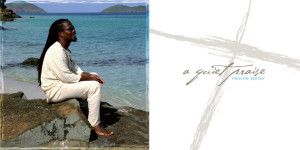 2 picturues frunt cover of CD white back ground with the words a Quiet Praise written in gray and the second picture is Neville sitting on a beach on the island of ST. thomas.